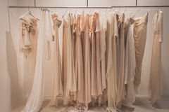 Elegant ceremony dresses on display at Si' Sposaitalia in Milan, Italy Royalty Free Stock Images