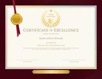 Elegant certificaatmalplaatje voor voortreffelijkheid, voltooiing, apprec vector illustratie