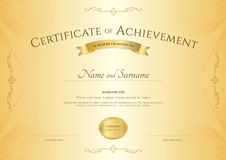 Elegant certificate of achievement template on abstact guilloche Stock Photos