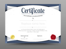 Elegant certificate template. Business certificate formal theme. Vector illustration Royalty Free Stock Photos