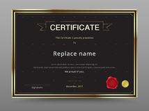 Elegant certificate template design gold and black color. vector Royalty Free Stock Images