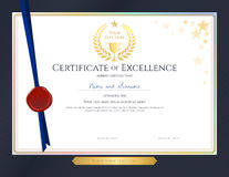 Elegant certificate template for excellence, achievement, appreciation or completion on blue border background stock illustration