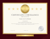 Elegant certificate template for excellence, achievement. Appreciation or completion on red border background vector illustration