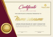 Elegant certificate template vector with luxury and modern pattern background stock illustration
