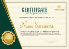 Elegant certificate template vector with luxury and modern pattern background royalty free illustration