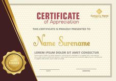 Elegant certificate template with luxury and modern pattern background vector illustration