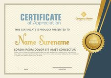 Elegant certificate template with luxury and modern pattern background royalty free illustration