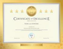 Elegant certifikatmall för utmärkthet, prestation royaltyfri illustrationer