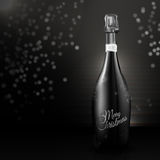Elegant champagne bottle Merry Christmas. An elegant champagne bottle in modern black and white colors. Ideal for use in Christmas cards, Christmas royalty free illustration