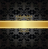 Elegant charcoal seamless pattern with gold banner Royalty Free Stock Images