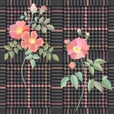 Elegant checkered  print with embroidered roses. Seamless hounds tooth pattern with English motifs. Stock Images
