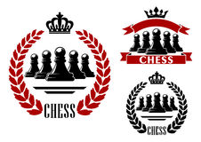 Elegant chess game heraldic symbol Stock Photography