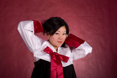 Elegant chinese model in traditional dress Royalty Free Stock Photos