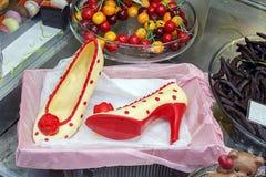 Elegant Chocolate flamenco dance shoes.  Royalty Free Stock Photography