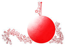 Elegant Christmas Abstract Ornament. Simply Styled Elegant Christmas Ornament With Festive Red Ball and Lacy Stars Over White Background Royalty Free Stock Photo