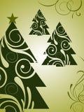 Elegant christmas background. Illustration of elegant green christmas trees Stock Photography