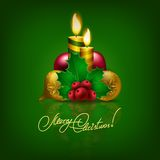Elegant Christmas background with Christmas balls. Berries, baubles, candles for greeting card, invitation. Vector illustration EPS10 Stock Image