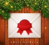 Elegant Christmas Background with envelope and spruce branches. Royalty Free Stock Photography