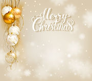 Elegant Christmas background with gold and white evening balls Stock Photo