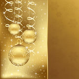 Elegant christmas background with golden balls Stock Images