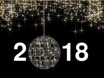 Elegant Christmas background with golden glitter stars and Christmas ball. Happy New Year 2018. Stock Photography