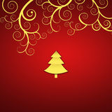 Elegant christmas background with golden swirls. And christmas tree Stock Photos