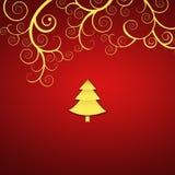 Elegant christmas background with golden swirls Stock Photos