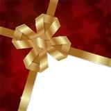 Elegant Christmas background with shiny gold bow Royalty Free Stock Photos