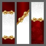Elegant Christmas background with shiny gold bow Royalty Free Stock Images