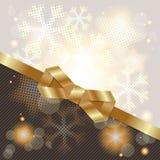 Elegant Christmas background with shiny gold bow Stock Photography