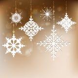Elegant Christmas background with snowflakes Stock Photos