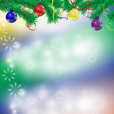 Elegant Christmas background with snowflakes, fir branches Royalty Free Stock Photo