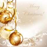 Elegant Christmas Background With Golden Baubles Stock Photos
