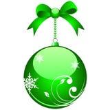 Elegant christmas ball. Green colored elegant christmas ball with bows Vector Illustration