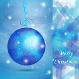 Elegant Christmas ball with blue shades. For wishes card Stock Images
