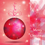 Elegant Christmas ball with pink shades. For wishes card Royalty Free Stock Image