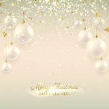 Elegant Christmas banner with glass balls. Beautiful vector illustration with a congratulation. Happy New Year background with golden confetti and shining lights vector illustration