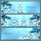Elegant christmas banners with Christmas tree and Christmas toys Royalty Free Stock Photos