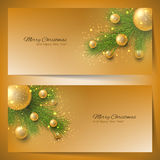 Elegant christmas banners with Christmas tree and Christmas toys Royalty Free Stock Images