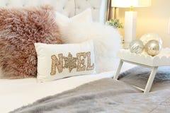 Elegant Christmas bedroom royalty free stock photo