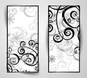 Elegant christmas black and white banner. With snowflakes and lights Stock Image