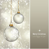Elegant christmas card. Holiday background with baubles over a shimmering background - also usable without the panel, background is complete Royalty Free Stock Photo