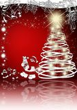 Elegant christmas card. On red background with reflection Royalty Free Stock Photos