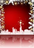Elegant christmas card. On red background with reflection Stock Photography