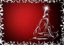 Elegant christmas card. On red background Royalty Free Stock Image