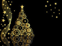 Elegant christmas card. Illustration of a golden christmas tree on a black background Royalty Free Stock Photo