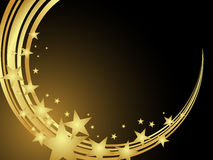 Elegant christmas card. Illustration of a golden stars on a dark background Royalty Free Stock Images