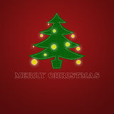 Elegant Christmas card. With a tree on a red and green background Royalty Free Stock Photo