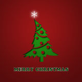 Elegant Christmas card. With a tree on a red and green background Stock Photo