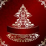 Elegant Christmas card with Christmas tree. Red and gold Christmas illustration with intricately designed Christmas tree. Graphics are grouped and in several Stock Photography